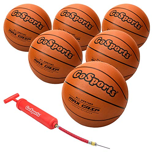 GoSports Indoor / Outdoor Rubber Basketball Six Pack with Pump & Carrying Bag, BALLS-BB-RUBBER-7-6