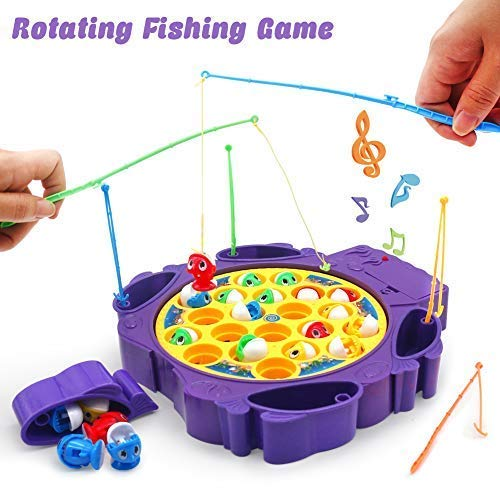 TONZE Juego de Pesca de Mesa con Música Juegos Pescar Peces