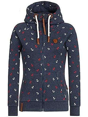 EwigYou Damen Baumwolle Kapuzenjacke Hoodie mit Fleece-Innenseite Sweatshirt Herbst Winter Große Größen Übergangsjacke Sweatjacke,Dunkelblau,XS / Tag L