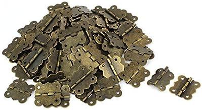 DealMux Houten Geval 30mm Lange Retro Stijl Druk Lager Deur Scharnier Brons Toon 100 stks