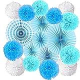 JAHEMU Pompones de Papel Abanicos de Papel Bola de Papel Paper Pompoms Flowers Decorados para Boda Cumpleaños Navidad Fiestas 15 piezas (Azul)