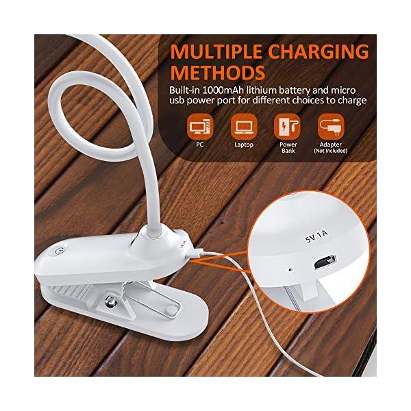 Bovon-Leselampe-Buch-Klemme-USB-Wiederaufladbare-Buchlampe-Klemme-mit-30-LEDs-3-Helligkeit-Touch-Switch-LED-Klemmleuchte-360-Flexibel-Dimmbare-Schreibtischlampe-fr-Arbeiten-Zuhause-Bro-Bett