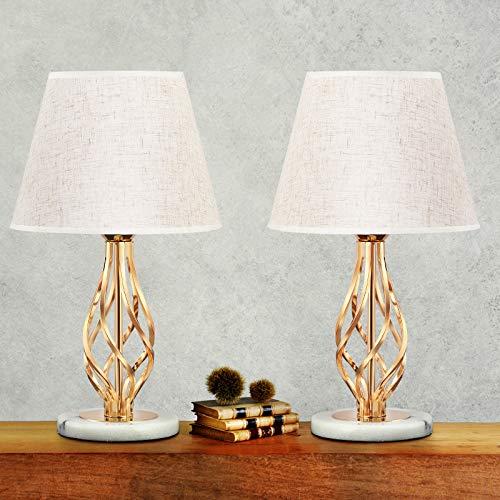Juego de 2 lámparas de mesa prácticas y pequeñas lámparas de mesita de noche para dormitorio, habitación de los niños, lámpara de tela de metal, fina y elegante, color dorado