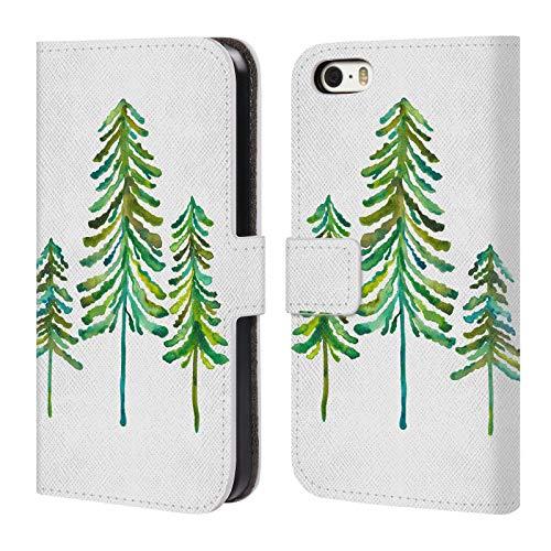 Head Case Designs Oficial Cat Coquillette Verde Pinos Carcasa de Cuero Tipo Libro Compatible con Apple iPhone 5 / iPhone 5s / iPhone SE 2016
