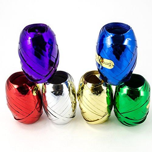 Ruban à friser métallique - 6 Couleurs assorties : 5 mm x 20,1 m - dans une Boite de Rangement - pour Cadeau décoratif, Emballage et Ballons (1 lot de 120 m)