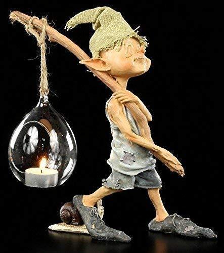 Pixie Kobold Figur als Teelichthalter - Ich GEH mit meiner Laterne | Windlicht Fantasy