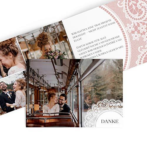 greetinks Hochwertige Dankeskarten zur Hochzeit Boho Spitze in Misty Rosa | Inkl. Druck Ihrer Texte und Fotos | Klappkarte | 25 Stück | Hochzeit |Danksagungskarten