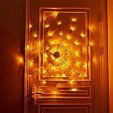 Decoración de luces de tela de araña de Halloween, 60 LED ilumina la tela de araña Luces naranjas impermeables para la decoración de la casa embrujada de la barra del patio de la fiesta Decoración