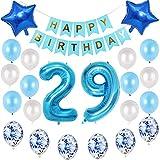 29 anniversaire décoration ballons hommes ensemble bleu, 29ème décoration d'anniversaire pour garçon homme, ballons bleus numéro 29, 29 ans anniversaire décoration hommes ensemble bleu