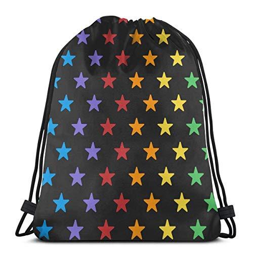 XCNGG Bolsa de gimnasia Bolsa con cordón Bolsa de viaje Bolsa de deporte Mochila escolar MochilaSeamless Colorful Star Pattern Gym Bag Travel Drawstring Backpack Men & Women Sport Bag Portable Storage
