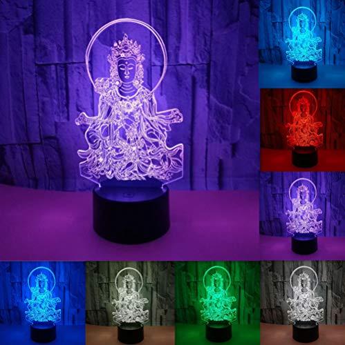 3D Illusion Geburtstag Nachtlicht Buddha-Statue 7 Berühren Farbwech Stimmungslicht USB Power Lampe Tischleuchte Weihnachtsgeschenk für Hauptdekor Perfekte Geschenke Baby Tischlampe Nachtlichter