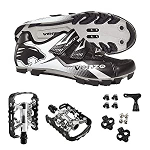 Venzo Mountain Bike Bicycle Cycling Compatible with Shimano SPD Men or Women Shoes + Multi-Use Pedals - with MTB Type Clipless Cleats 40