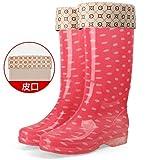 Pour Les Bottes De Pluie Pour Femmes,Cristal De L'Eau Chaussures Bottes De Pluie Chaude Des Taches Blanches Cuir Simple Fashion...