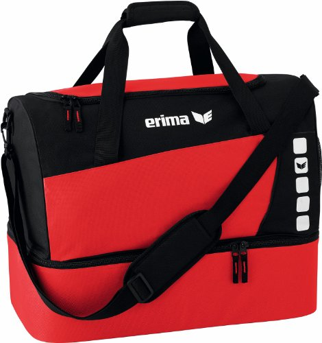 Erima CLUB 5 Sporttasche mit Bodenfach, Rot/Schwarz, Small