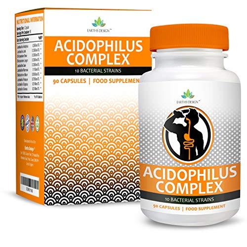 Acidophilus Complex - 10 Bacterial Strains Including Lactobacillus Acidophilus & Bifidobacterium Bifidum, 1+ Billion CFU, High Strength, Suitable for Vegetarians - 90 Capsules (3 Months Supply)