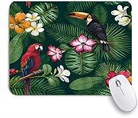 ZOMOY マウスパッド 個性的 おしゃれ 柔軟 かわいい ゴム製裏面 ゲーミングマウスパッド PC ノートパソコン オフィス用 デスクマット 滑り止め 耐久性が良い おもしろいパターン (オオハシオウムジャングル植物の花熱帯の葉ブロッサムファッションプラント)