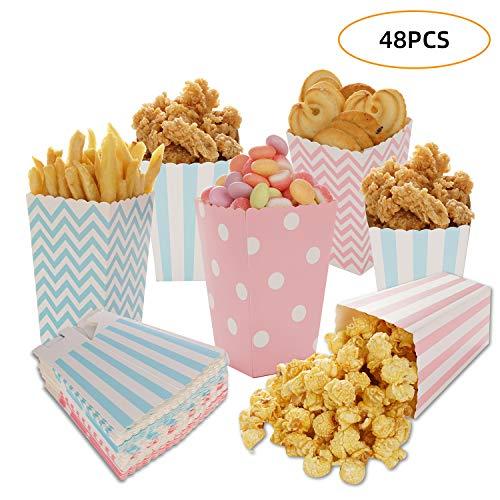 Siumir Popcorn Tüte Popcorn Box Party Papiertüte Snacks Behälter Streifen Tupfen Wellenförmige Muster 48 Stück