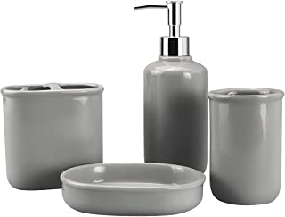 4-Piece Ceramic Bathroom Accessory Set, Bathroom Accessories Set Includes Soap Dispenser, Toothbrush Holder, Tumbler, Soap Dish, Complete Bathroom Ensemble Sets for Bath Decor, Ideas Home Gift, Gray