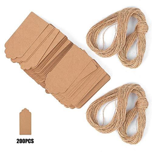 Zerodis 200 etiquetas de papel kraft para regalo de fiesta, boda, etiqueta para colgar ropa, etiqueta con cuerda de cáñamo de 4 x 9 cm