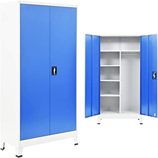 Festnight Armoire de Bureau métal Meubles de Rangement Gris et Bleu 90 x 40 x 180 cm (l x P x H)