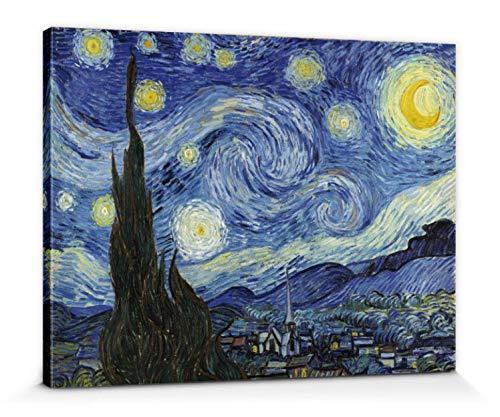 1art1 Vincent Van Gogh - Noche Estrellada, 1889 Cuadro, Lienzo Montado sobre Bastidor (80 x 60cm)