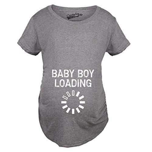 Crazy Dog Tshirts - Maternity Baby Boy Loading Funny Nerdy Pregnancy Announcement T Shirt (Dark Heather Grey) - M - Femme