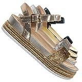 Aquapillar Rhinestone Espadrille Footbed Flatform Sandal - Womens Molded Platform Gold