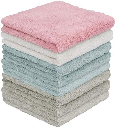 YesTree Kitchen Dishtowels, Kitchen Dish Cloths, Super Absorbent Coral Velvet Dishtowels, Nonstick Oil Washable Fast Drying with Machine Washable Fast Drying Bar Towels & Tea Towels(8Pack)