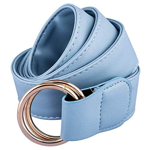 Samtree Double O-Ring PU Leather Dress Belt for Women, Adjustable Solid Color Cinch Waistband, Blue