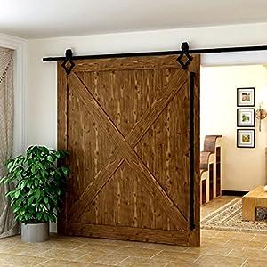 Herraje para Puerta de Granero Corredera de madera Puerta Deslizante Divisores Puertas Interiores (200cm, Modelo B)