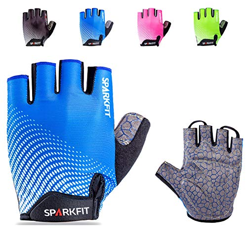 SPARKFIT Half Finger Cycling Gloves for Road Bikes and Mounting Biking, Bicycle Gloves Mountain Bike Gloves Non-Slip Shock Absorbent Palm Grip, Moisture Wicking Lightweight Lycra, Snug Compression