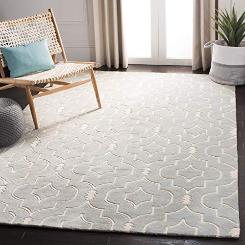 "Safavieh Chatham Collection CHT736E Handmade Grey and Ivory Premium Wool Area Rug (8'9"" x 12')"