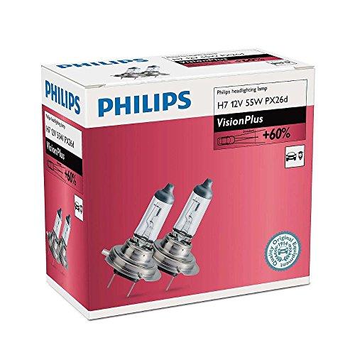 PHILIPS H7 VisionPlus 12 V 55 W Bombillas para faros delanteros 60% más visión...