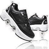 ASDEF Multifuncionales Invisibles Cuatro Rondas de Zapatillas para Correr Chicas Parkour Zapatos Caminando Zapatos Roller skat 2 en 1, Negro,EUR39.5/US8/UK7