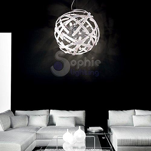 Lustre Ø45 cm 10 lumières suspension design élégant moderne boule globe acier chromé tiges verre blanc séjour salon chambre lit lit Lem SP10 SOPHIE LIGHTING