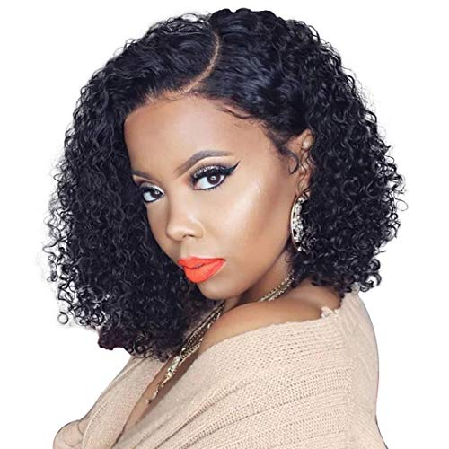 Jaja Hair Curly Short Bob Wigs Human Hair Lace Front Wigs for Black Women Brazilian Virgin Hair Kinky Curly Deep Wave Bob Wigs Remy Hair Wigs Pre Plucked with Baby Hair Natural Black 14 Inch