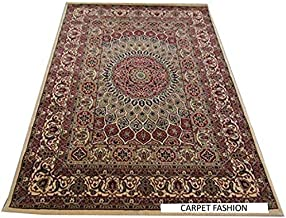 Carpets Kashmiri Design Persian Carved Carpet for Your Hall & Living Room with 1 inch Thickness 9 x 12 feet (270x360cm) Ivory by Carpet Fashion