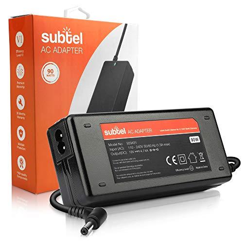 subtel® Fuente de Alimentación 19V 90W Compatible con Acer Aspire 3, E, Extensa, TravelMate/eMachines E, G/Packard Bell LJ, TM- Cable Corriente 2.6m Cargador Rapido Ordenador Portatil