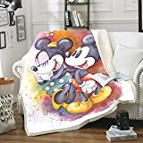 SSLLC Disney Mickey & Minnie Mouse Tagesdecke aus weichem Fleece, 3D, Digitaldruck für Erwachsene & Kinder für Sofa, Sofa, Wohnzimmer, A16, 100CMX140CM