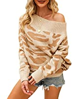 EXLURA Women's Off Shoulder Sweater Batwing Sleeve Leopard Printed Loose Oversized Pullover Knit Jumper