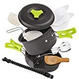 EXTSUD Camping Cookware Kit for 2 People, Outdoor Cooking Set Non Stick Camping
