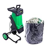 CRZJ Electric Wood Chipper Shredder, Rolling Electric Wood Chipper and Shredder, Green
