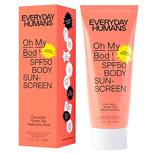 Everyday Humans Oh My Bod! SPF50 Body Sunscreen   Dry Touch Body Sunscreen with Hyaluronic Acid   Lightweight, No White Cast, Water Resistant for Sports, Cruelty Free   3.4 oz