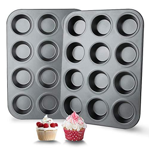 Muffin Pan 12 Cupcake Pan 2 Sets of Nonstick Brownie Bakeware Muffin Tin Cupcake Tray Baking Pan for Kitchen Oven Black
