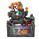 NNR Fuente Creative Desktop Fountain Resin Rockery Fountain Fundas Pescado Atomizador Set de la Sala de Estar Apertura de la Apertura Decoración de Regalo Decoración hogareña