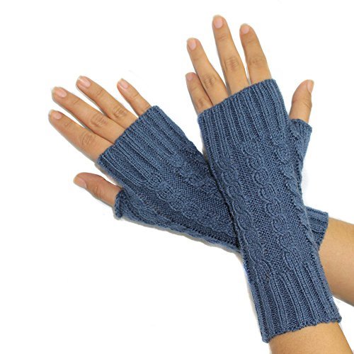 FINGERLESS MITTENS GLOVES Alpaca Wool made in PERU STEEL