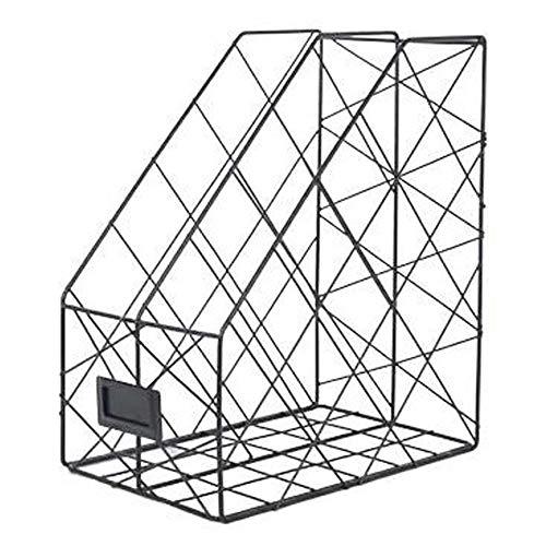 Praktisches Metall-Aktenregal, Desktop-Aktenleiste, Lagerregal auf dem Schreibtisch, Multifunktions-Aktenrahmenkorb mit großer Kapazität, Informationsregal für Büromaterial-black
