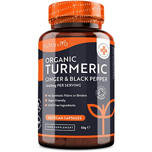 Organic Turmeric 1440mg with Black Pepper & Ginger – 60 Vegan Turmeric Capsules High Strength - 30 Day Supply – Organic Turmeric with Active Ingredient Curcumin - Made in The UK by Nutravita