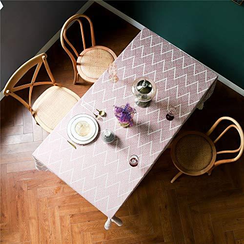 XIAKE Tischdecke 135x180 cm Tischtuch Streifen Tischdekoration Rechteckige aus Baumwolle und Leinen mit Stickerei Rot