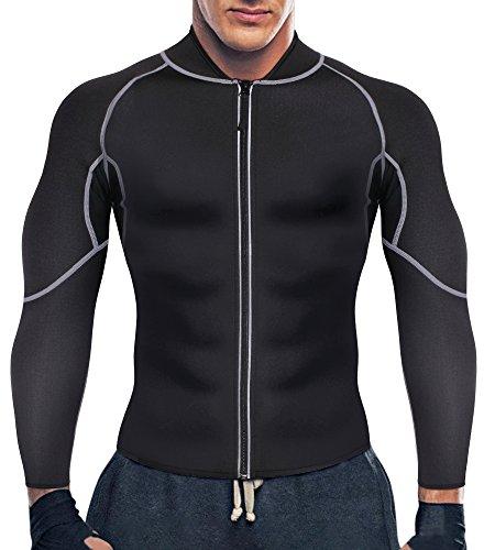 Bingrong Herren Neopren Sauna-Anzüge Lange Ärmel Fitness Thermo Shapewear Hohe Kompression Trainingsoberteile Sportbekleidung Körperformer für Gewichtsverlust (Schwarz, L)